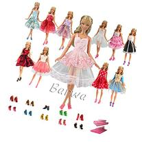 BARWA 5 PCS Fashion Mini Short Party Dresses Doll Clothes 5