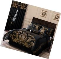 Chezmoi Collection 7-Piece Jacquard Floral Comforter Set Bed