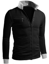 Doublju Men's Jersey Cardigan with Contrast Detail Black