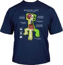 JINX Minecraft Creeper Anatomy Youth T-shirt, Navy, Large