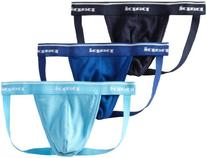 Papi Men's 3-Pack Cotton Jock Strap , Light Blue/Cobalt/Navy