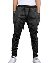 HEMOON Mens Casual Running Trousers Baggy Jogging Harem