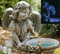 "14"" Joseph's Studio Solar Powered Bird Bath Angel Outdoor"