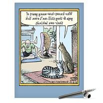 NobleWorks J4678 Jumbo Funny Birthday Card: 'Yoga Cat' with