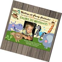 Jungle Animals Birthday Party Invitation for a Boy or Girl