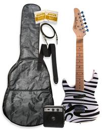 "32"" Junior Kids Mini 1/2 Size Zebra Electric Starter Guitar"