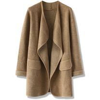 Chicwish Just Knitted Open Coat in Brown