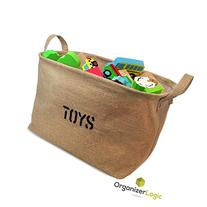"Jute ""TOYS"" 14""Long  Storage Bin - Storage Baskets for"