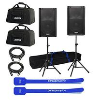"QSC K10 10"" 1000 Watt-Powered Speakers PAIR w/ Bags, Stands"