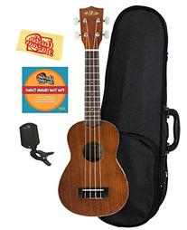 Kala KA-S Mahogany Soprano Ukulele Bundle with Hard Case,