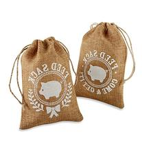 Kate Aspen Burlap Feed Sack Favor Bag, Brown