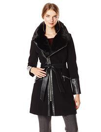 Via Spiga Women's Kate Wool Coat with Faux Fur Collar, Black