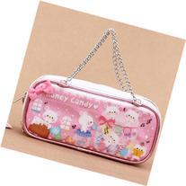 kawaii white and pink metallic glitter bear candy pouch