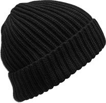 KBW-507 BLK Ribbed Beanie Thick Cuffed Ski Hat Skully Winter
