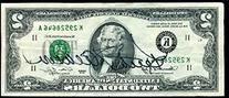 Keith Jackson Signed 2 Dollar Bill Rare Jsa Certed Autograph