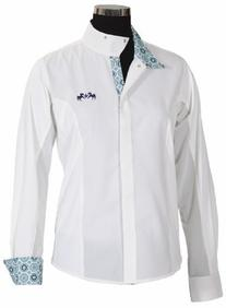 Equine Couture Women's Kelsey Long Sleeve Show Shirt, White/
