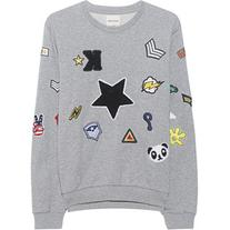 KENGSTAR Sweater Patches Gray Melange // Sweatshirt with