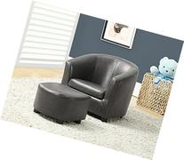 Kids Accent Chair & Ottoman Charcoal Grey Leather,Plastic
