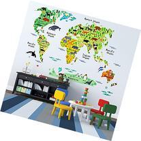EveShine Animal World Map Peel & Stick Nursery Wall Decals