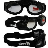 Kite Motorcycle Goggles By Birdz - Glossy Black Frame Clear