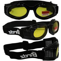 Kite Motorcycle Goggles By Birdz - Glossy Black Frame Yellow