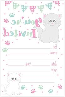 Kitty Cat Birthday Party Invitations - Fill In Style  With