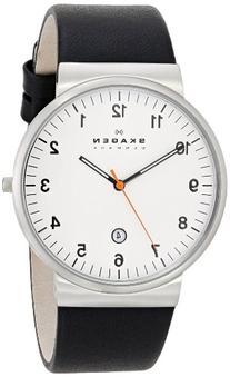 Klassik Three-Hand Date Leather Watch - Black,Unisex adult