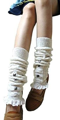 V28® Women Knee High Crochet Lace Cable Knitted Leg Warmers