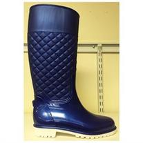 ED Women Knee High Quilted Rain Rubber Galoshes Wellies Pull