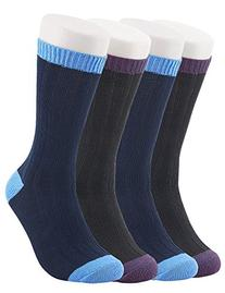 Vero Monte 4 Pairs Men Knitted Color Block Cotton Boot Socks