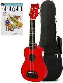 Kohala Tiki Series Red Soprano Ukulele with Built-in Tuner