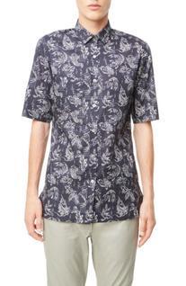 Men's Lanvin Koi Print Sport Shirt, Size 39 EU - Blue