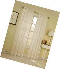 Élégance 2 Piece Solid Ivory Sheer Window Curtains/Drape/
