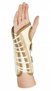 Lace-up Wrist Support Brace, White Canvas
