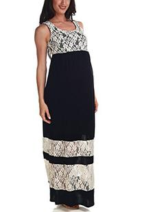 PinkBlush Maternity Black Lace Colorblock Maternity Maxi