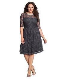Kiyonna Women's Plus Size Luna Lace Dress 2x Twilight Grey