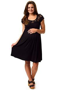 PinkBlush Maternity Black Lace Top Maternity Dress, Medium
