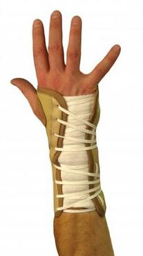 Lace-up Wrist Support Brace, Beige Nylon