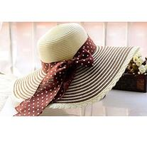 Woman Lady Girls Fashion Bohemia Bowknot Decor Wide Brim