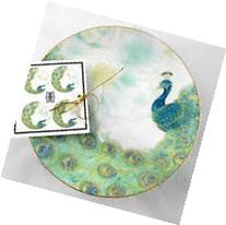 222 Fifth Lakshmi Peacock Round Appetizer Plate Set of 4