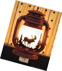 Outlet Night Light Lantern with Moose Scene, 6-inch