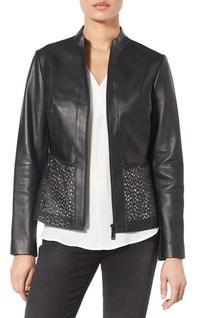 Women's Elie Tahari Laser Cut Leather Jacket, Size X-Large