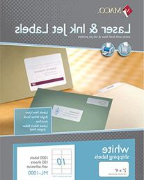 MACO Laser/Ink Jet White Shipping Labels, 2 x 4 Inches, 10