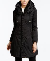 T Tahari Layered Hooded Raincoat