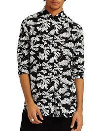 Topman Leaf-Printed Sport Shirt-BLACK-Medium