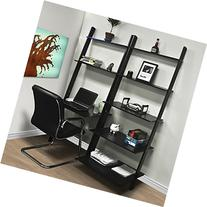 Wakrays Leaning Shelf Bookcase With Computer Desk Office