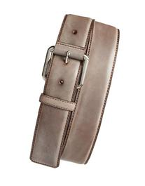 Men's Tumi Leather Belt, Size 42 - Nickel Satin/ Brown