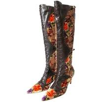 Etro Leather And Crushed Velvet Boho Knee High Boots