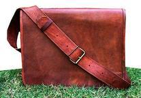 HLC Leather Full Flap Messenger Handmade Bag Laptop Bag