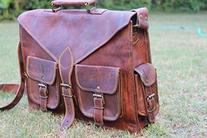 Hlc Leather Messenger Bag Satchel Briefcase for Laptop